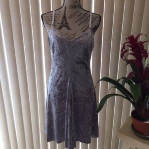 CALVIN KLEIN GRAY VELVET CAMI DRESS SIZE 8 & 10